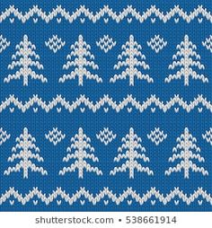 Winter seamless knitted blue pattern with Christmas tree. Holiday New Year Design. New Year Designs, Xmas, Christmas Tree, Fair Isle Pattern, Christmas Table Decorations, Christmas Knitting, Stock Foto, Vector Background, Winter