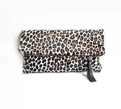 Leopard Calf Hair Clutch Wild Cheetah Fold Over by gmaloudesigns