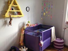 Purple and yellow nursery.
