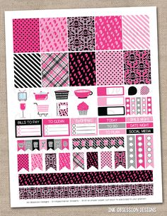 Girls Night Out Pink & Black Printable Planner Stickers PDF Instant Download Weekly Graphics