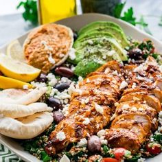 This Chicken Shawarma Tabbouleh Salad is super fresh and loaded with incredible flavors. The chicken is marinated in Middle Eastern spices, super moist and delicious served over the best tabbouleh salad and a side of homemade hummus Gourmet Recipes, Cooking Recipes, Healthy Recipes, Gourmet Meals, Weekly Recipes, Cooking Pork, Simple Recipes, Dinner Recipes, Dessert Recipes