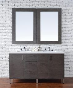 Abstron 60 inch Silver Oak Finish Double Sink Bathroom Vanity Optional Tops http://www.listvanities.com/rustic-bathroom-vanities.html Very clean lines and ample storage make these vanities a welcome addition to your bathroom. Hand-crafted from North American Birch hardwoods and featuring exotic veneers like Macassar Ebony, American White Oak, the Bathroom Vanity series compliment today modern interiors. The sleek drawer and door pulls are finished in a soft brushed satin silver color.