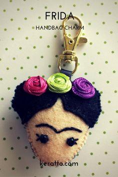 Frida facedoll in colors hotpink purple and lemongreen handmade in felt frida kahlo mexican art doll keychain charm handbag keratto handmade Mexican Crafts, Mexican Art, Handmade Ornaments, Handmade Christmas, Foam Crafts, Arts And Crafts, Felt Keychain, Keychains, Doll Quilt