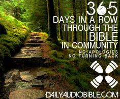 Daily Audio Bible 365 Through the Bible. Grateful to walk through the bible each day listening to the word.