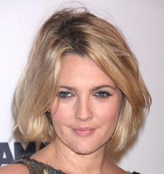 Drew Barrymore Bob  The always quirky Drew showed off her short new bob hair-cut. Drew is never afraid to try new hairstyles and this hair risk certainly paid off.