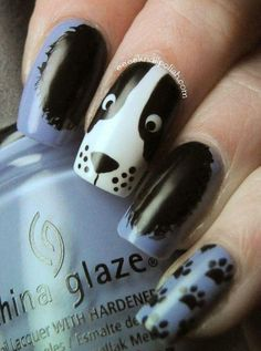 nail art ideas nail designs step by step nail name nail synonym print nail art print nail designs animal nail designs for nail art competition are animal nails called Dog Nail Art, Animal Nail Art, Dog Nails, Cute Nail Art, Cute Nails, Pretty Nails, Nail Art Designs, Nail Polish Designs, Polish Nails
