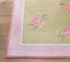 Pink and Green Scene: Romantic Floral Rug