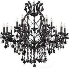 JET BLACK CHANDELIER CRYSTAL LIGHTING CHANDELIERS 37X38 ($449) ❤ liked on Polyvore featuring home, lighting, ceiling lights, crystal lamps, glass crystal chandelier, black lights, crystal ceiling lamp and crystal chandeliers