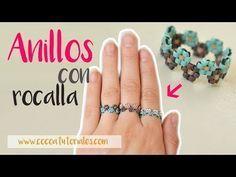 Cómo hacer un anillo bonito de estilo étnico con rocalla (mostacilla o chaquira) - YouTu Beaded Bracelet Patterns, Jewelry Patterns, Bead Jewellery, Beaded Jewelry, Handmade Rings, Handmade Jewelry, Beaded Rings, Beaded Bracelets, How To Make Rings