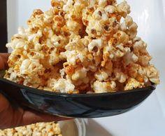 Homemade caramel popcorn from scratch using a frying pan