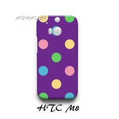 Cute Colorful Polka Dots HTC M8 Hardshell Case Cover