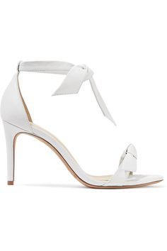 Heel measures approximately 85mm/ 3.5 inches White leather Ties at ankle  Made in ItalySmall to size. See Size & Fit notes.