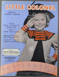 '35 LITTLE COLONEL Sheet Music SHIRLEY TEMPLE Webster Pollack LOVE'S YOUNG DREAM