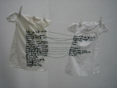 Aya Haidar, The Stitch is Lost Unless the Thread is Knotted, i used this as inspiration to adding some text to the weavings. I had the idea of joining three tapestries together through trailing thread between them. Textile Artists, Art Plastique, Embroidery Art, Portrait Embroidery, Fabric Art, Installation Art, Oeuvre D'art, Textile Design, Fiber Art