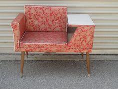 50's Telephone Gossip Bench Chair Atomic Retro Red $285.00, via Etsy.