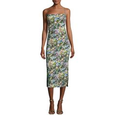 Cushnie Et Ochs Floral Cady Lace-Up Midi Dress ($1,495) ❤ liked on Polyvore featuring dresses, floral, women's apparel dresses, floral day dress, midi dress, spaghetti strap midi dress, straight dress and spaghetti strap dress