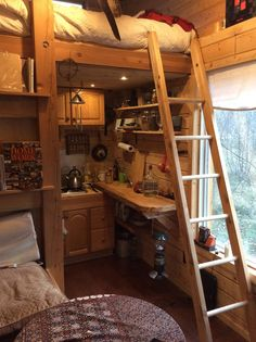 Tiny House Bunk Bed Over Kitchen