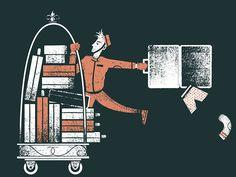 luggage, editorial, illustration, bellhop, suitcase, hotel, illustration,  phldesign, james olstein, jamesolstein