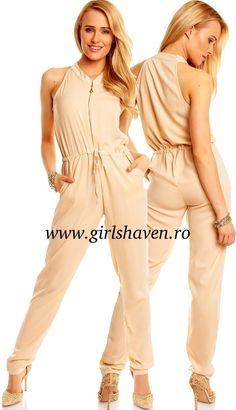 Salopeta dama Maia Hemera crem Jumpsuit, Costume, My Style, Pants, Dresses, Fashion, Overalls, Trouser Pants, Vestidos