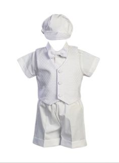 $36 Poly Cotton Christening Short Set with Basket Weave Veast and Hat - Size L (12-18 Months)