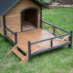 Boomer & George Lodge Dog House with Porch & Heater A rustic, heated home for your pet! Beautiful fir wood construction with black trim Raised floor and weatherproof roof Adjustable feet and waterproof leg protectors Large porch for lazing in the sun Heater included Dimensions: 67W x 31D x 38H inches