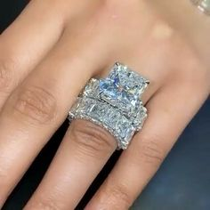 Big Wedding Rings, Sterling Silver Wedding Rings, Beautiful Wedding Rings, Wedding Band, Dream Engagement Rings, Diamond Are A Girls Best Friend, Fashion Rings, Jewelry Rings, Jewellery