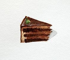 Chocolate Cake ORIGINAL Watercolor Painting by xheather, $15.00
