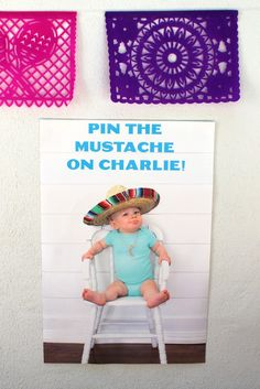 Fiesta Birthday Party Idea - pin the mustache on the birthday boy or girl!