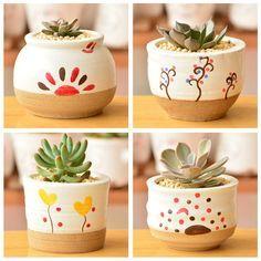South Korea desktop creative flower pot zakka ceramic bonsai pot of the h . Cactus Plante, Pot Plante, Painted Plant Pots, Painted Flower Pots, Flower Pot Crafts, Clay Pot Crafts, Ceramic Pots, Terracotta Pots, Pottery Painting