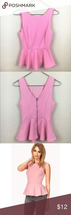 Forever 21 Pink Peplum Top cute, great condition, zip up, pink. Forever 21 Tops