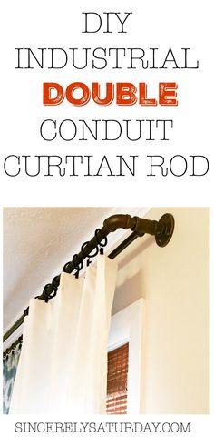 DIY industrial double conduit curtain rod. Visit sincerelysaturday.com for the tutorial.
