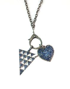 Combo Necklaces ( Diamond Heart Necklace and Triangle Necklace), 925 Sterling Silver Genuine Blue Sapphire and Diamond Combo Necklace by Amitbardia on Etsy