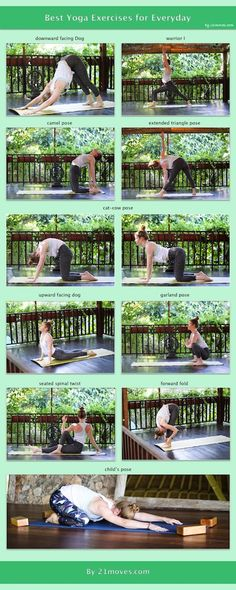 Top 10 Yoga Exercises that you should do everyday - 21Moves For a healthy body you should do yoga everyday. If that's not possible, it's still better to do a little workout. These are 10 quick and great yoga exercises to do everyday.