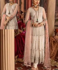 Off White Heavy Net Embroidered Designer Anarkali Suit Latest Pakistani Suits, Pakistani Outfits, Wedding Dress Material, Celebrity Gowns, Bollywood Wedding, Designer Anarkali, Pakistan Fashion, Stylish Tops, Indian Ethnic Wear