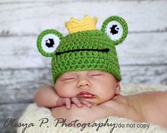 PDF CROCHET PATTERN 043 - Frog hat - Multiple sizes from newborn through 12 months. $4.95, via Etsy.
