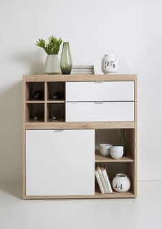 270e buffet haut style scandinave couleur bois et blanc Decoration Hall, Entrance Hall Decor, Cozy Place, Credenza, Floating Nightstand, Industrial Design, Bookshelves, Woodworking, Buffets
