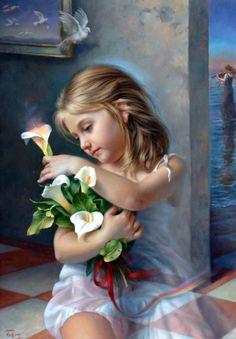 Portrait of a girl holding Calla Lilies. Color Splash, Image Jesus, Image Nature Fleurs, Images Vintage, Fantasy, Amazing Art, Art For Kids, Lily, Fine Art