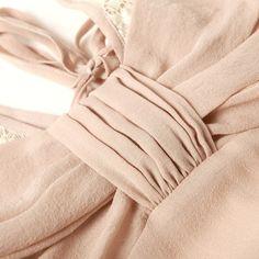 Sllg0018Pink,100% Charmeuse Silk V-Neck Laced Short Casual Dress - Pajama & Lounge,$158.98,