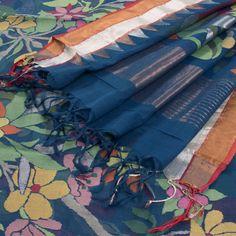 Sailesh Singhania Indigo Blue Khadi Jamdani Silk Saree with Floral Motifs & Temple motifs on Zari Border 10001937 - AVISHYA