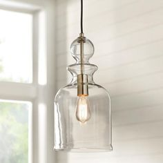 Boost up the allure of your living space with the help of this Home Decorators Collection One-Light Brushed Nickel Pendant with Clear Glass Shade. Farmhouse Pendant Lighting, Kitchen Pendant Lighting, Kitchen Pendants, Glass Pendants, Over Island Pendant Lights, Pendant Light In Bathroom, Kitchen Lamps, Gold Pendants, Mini Pendant Lights