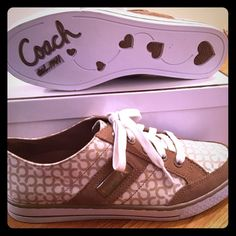 Coach sneakers Never worn Coach sneakers. Beige and brown with suede detailing and Coach logos. Comes with original box, inserts, and care card. Coach Shoes Sneakers