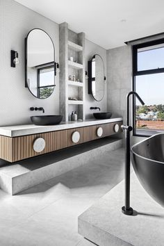 Essendon House Project / Projects / Polytec Project Projects, Home Projects, Modern Bathroom Design, Toilets, Master Suite, Double Vanity, Bathroom Ideas, Mirror, House