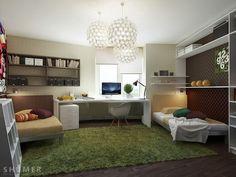 Fake turf, simple colors...great teens bedroom!
