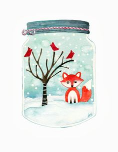 Winter Wonderland Watercolour Painting - Part Time Creative-It would be fun to paint a series of snowglobes for Christmas.