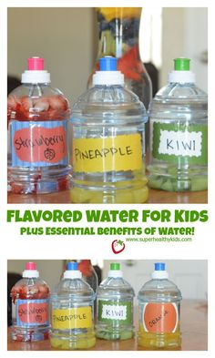 Flavored Water for Kids Plus Essential Benefits of Water! - So many parents told us they wanted their kids to drink more water!  Check out our ways to make it easy and fun. http://www.superhealthykids.com/flavored-water-for-kids/