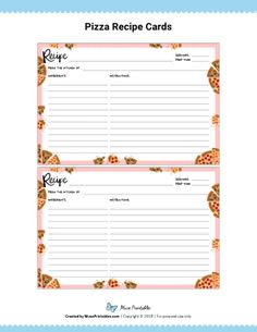 The cards are editable and can be filled out using Adobe Reader. New Years Eve Quotes, Family Recipe Book, Printable Lined Paper, Budget Meal Planning, Printable Recipe Cards, Recipe Binders, Pantry Labels, Stationery Paper, Pizza Recipes