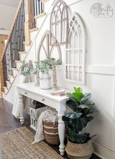 Entryway decor and decorating ideas. How to decorate your entry way. Two story entryway ideas. Board and batten entryway. way ideas entryway Entryway Table Decor and Storage Ideas Entrance Table Decor, Sofa Table Decor, Decoration Table, Entryway Decor, Entryway Ideas, Entrance Halls, Bedroom Decor, White Entry Table, Entryway Table Modern