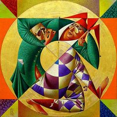 I never liked cubism, but in this artist work the lines are placed so perfectly. Love the paintings of Georgy Kurasow.