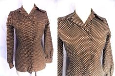 Rockabilly Blouse Sz M Polka Dot Butterfly Top Vintage 70s Disco Career Shirt