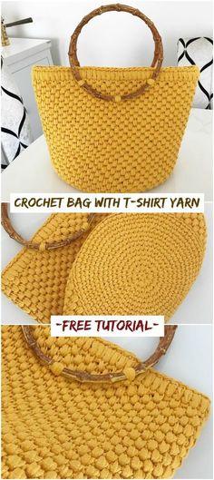 How To Crochet Bag With T-shirt Yarn – Crochetopedia Wie Tasche mit T-Shirt Garn häkeln – Crochetopedia taschen 2019 Crochet Handbags, Crochet Purses, Crochet Yarn, Knitting Yarn, Crochet Stitches, Knitting Patterns, Crochet Patterns, Diy Crochet Bag, Free Knitting